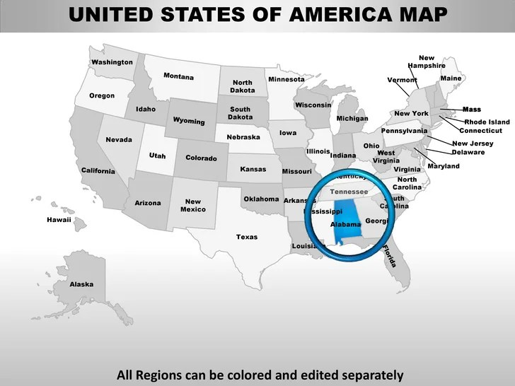 Usa alabama state powerpoint county editable ppt maps and