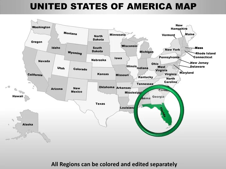 Usa florida state powerpoint county editable ppt maps and