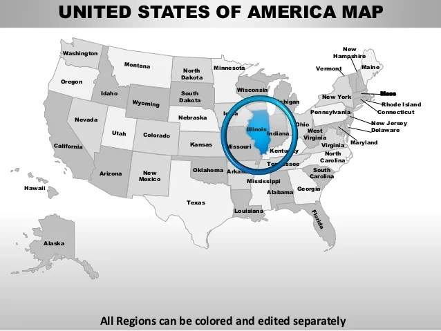 Usa illinois state powerpoint county editable ppt maps and