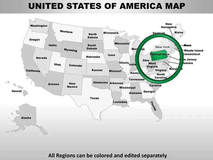 Usa pennsylvania state powerpoint county editable ppt maps