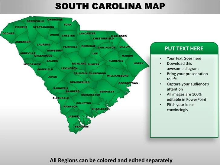 Usa South Carolina State Powerpoint County Editable Ppt