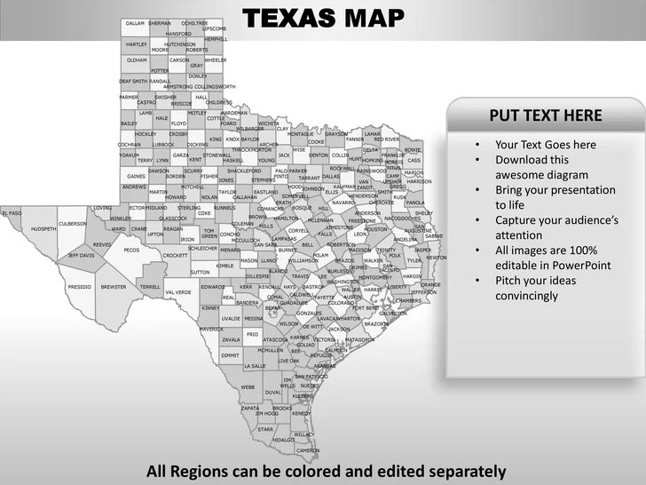 Usa texas state powerpoint county editable ppt maps and