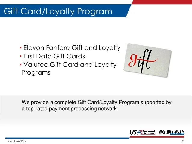 Valutec Gift Cards. 9. 9. 9. Us Bankcard Services Products And Solutions Introduction