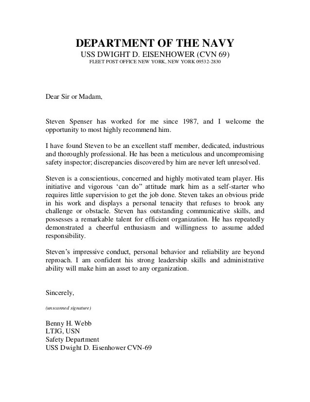 navy letter of recommendation format
