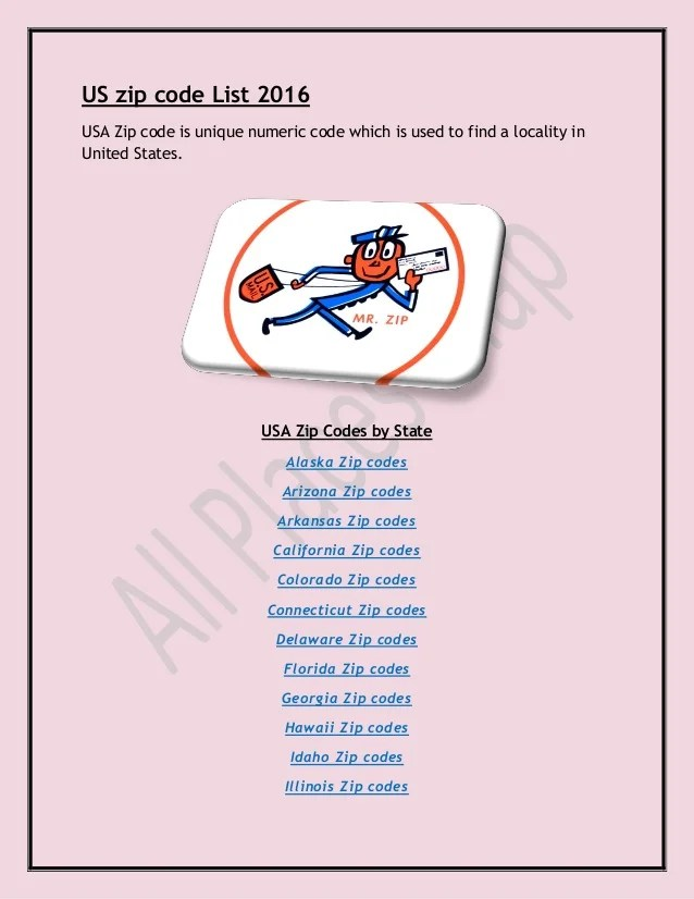 Us zip code list 2016 Postal Code of US