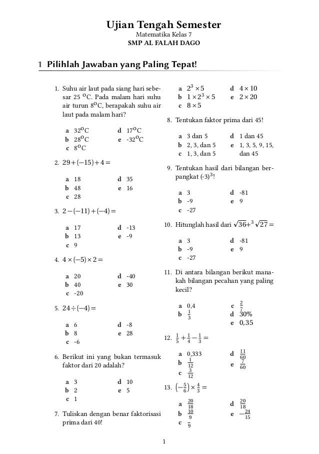 Soal Bahasa Indonesia Kelas 7 Kurikulum 2013 dan Kunci...