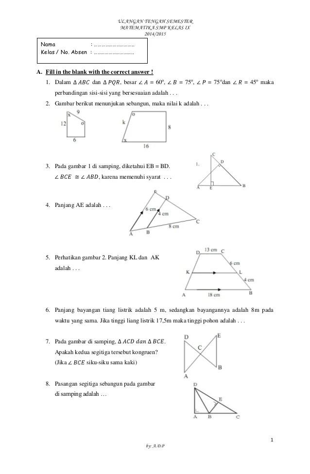 Soal Matematika Kelas 9 : matematika, kelas, Matematika, Kelas