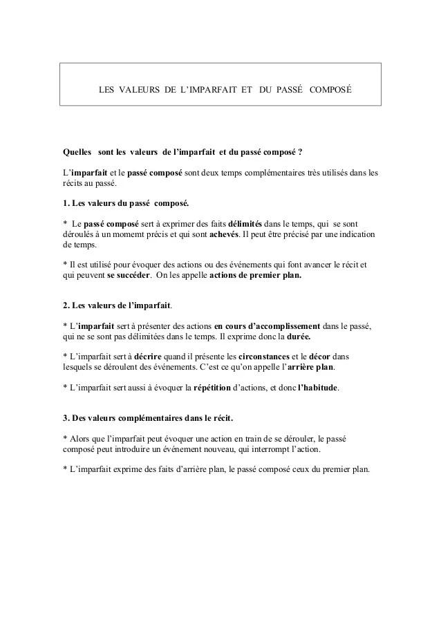 Les Valeurs De L'imparfait : valeurs, l'imparfait, Valeurs, L'imparfait/, Passé, Composé