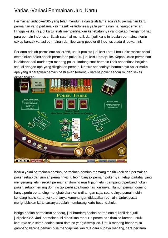 Cara Supaya Menang Judi Kartu : supaya, menang, kartu, Variasi-Variasi, Permainan, Kartu