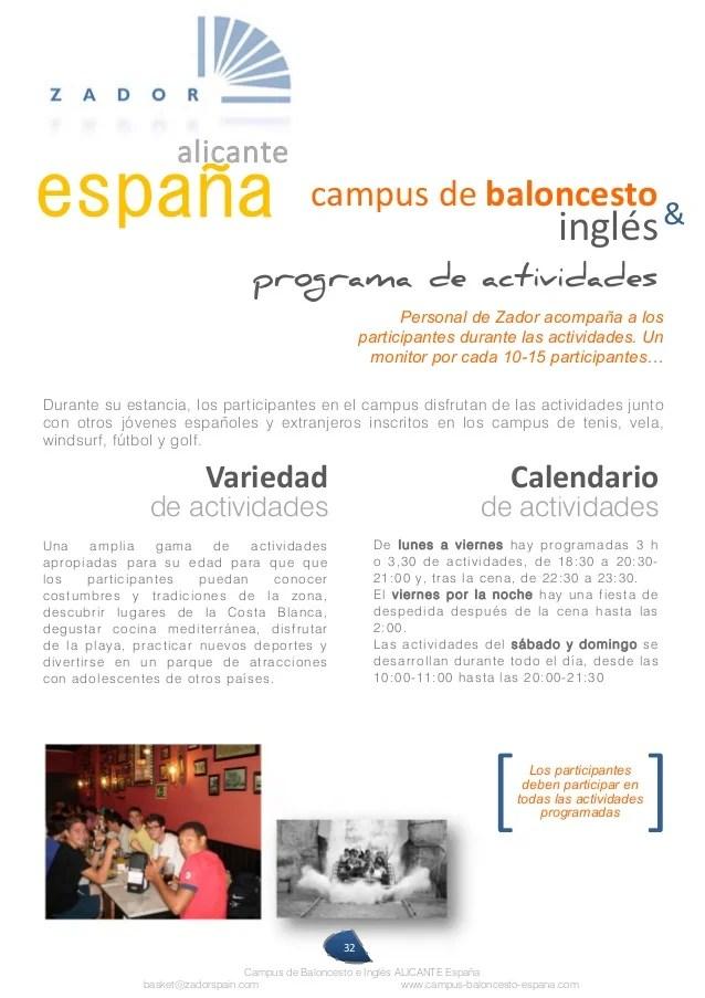 V Campus Internacional de Baloncesto e Ingls Alicante