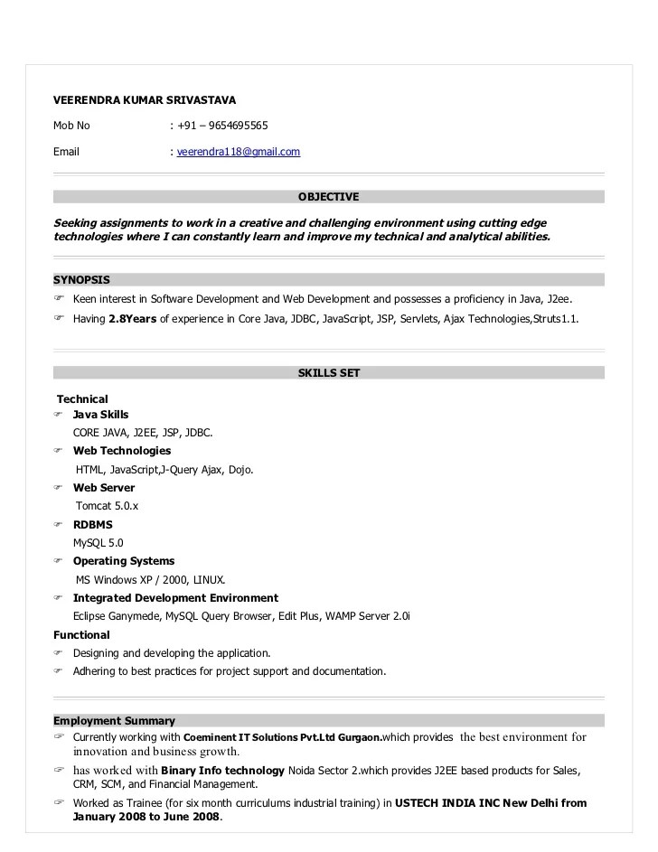 java sample resume 5 years experience