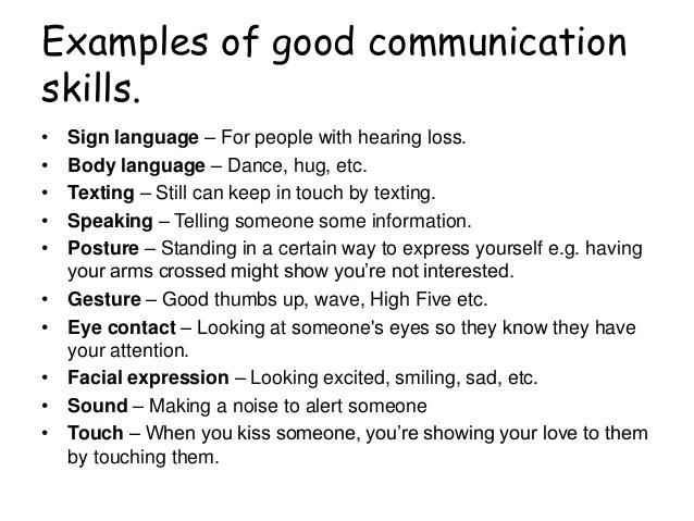 communication skill examples cv
