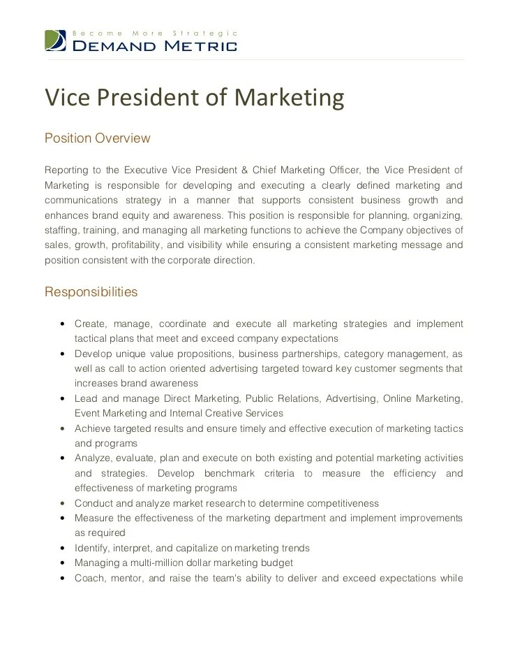 Vice President Marketing Resume