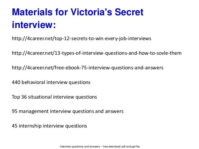 Victoria's Secret Interview Questions And Answers