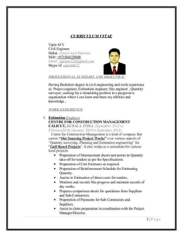 Vipin Mv Civil Engineer Cv And Coverletter