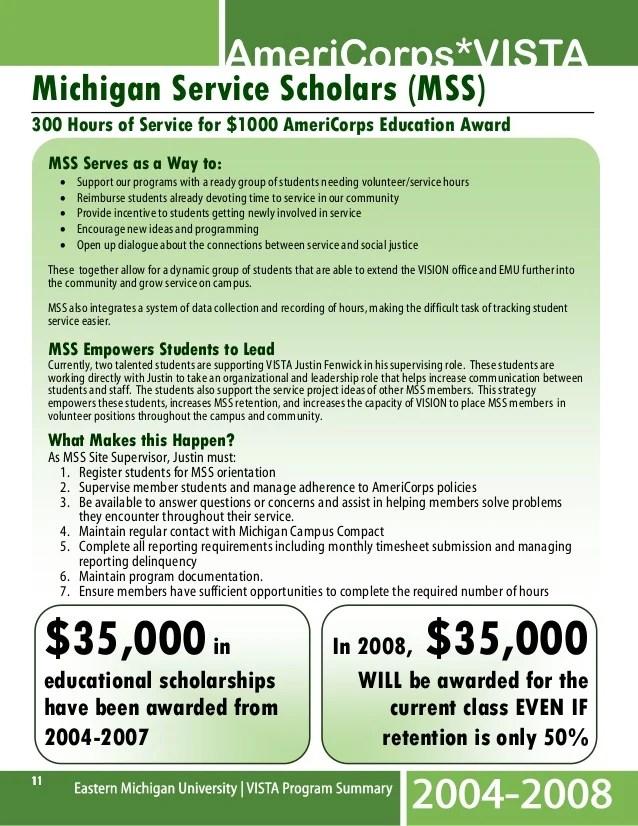 EMU VISTA Program Report