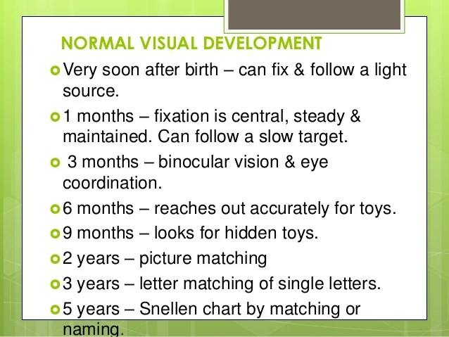 normal visual also acuity in infants rh slideshare