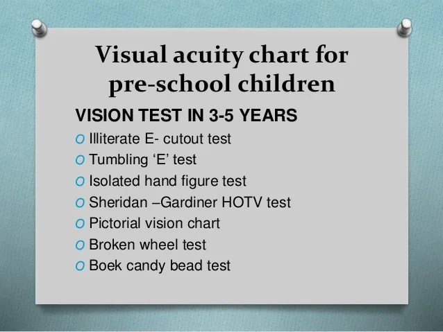 Visual acuity chart for pre school children also in preschool rh slideshare