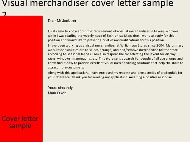 Example Resume Sample Cover Letter Visual Merchandiser