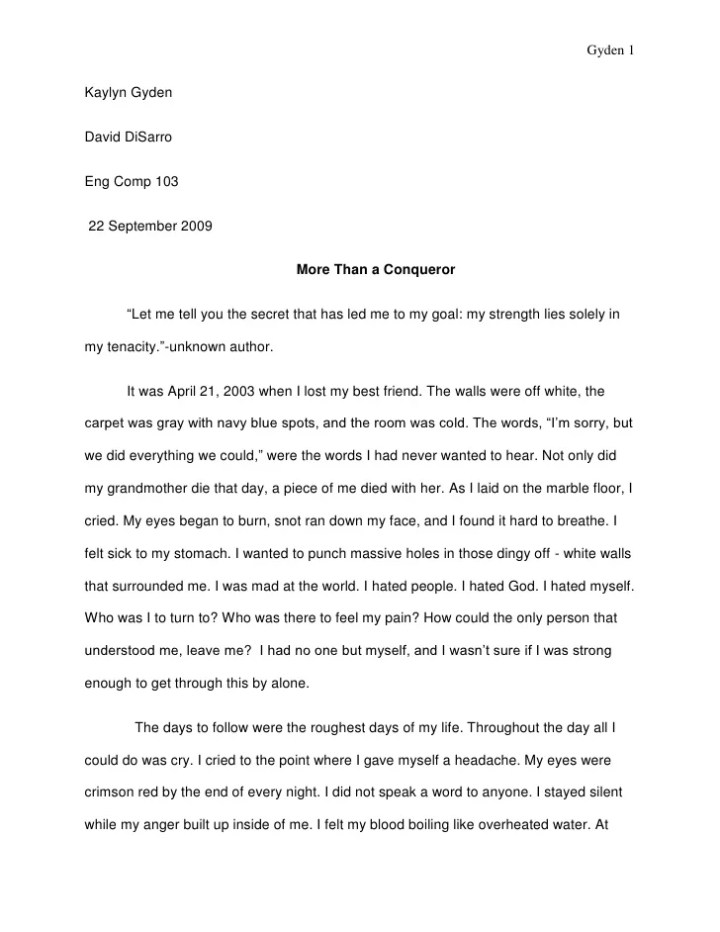 Narrative essay about a story my grandmother told me