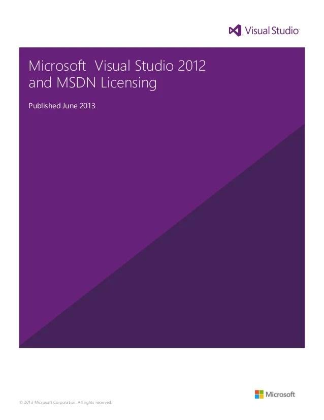 Visual studio 2012 and msdn licensing whitepaper june2013