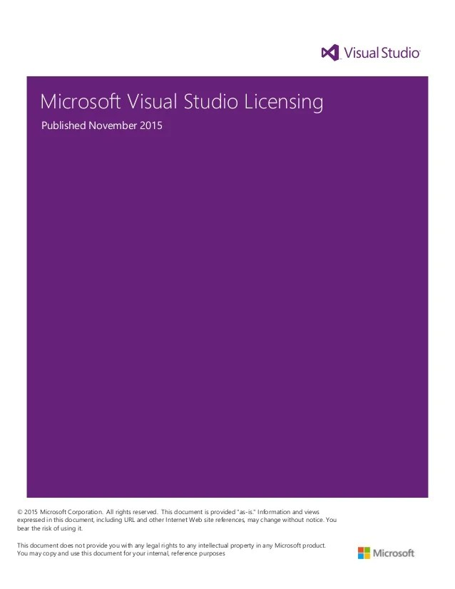 Visual Studio 2015 and MSDN Licensing Whitepaper