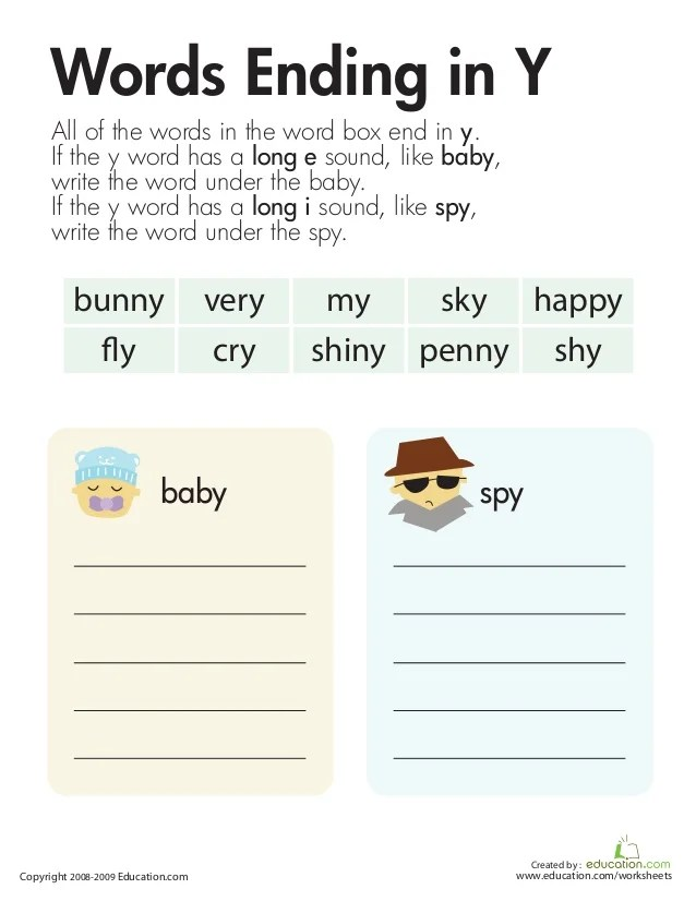 Words That End In Y Phonics Worksheets And First Grade