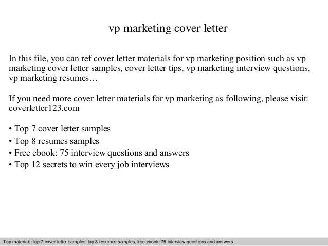 Vp marketing cover letter
