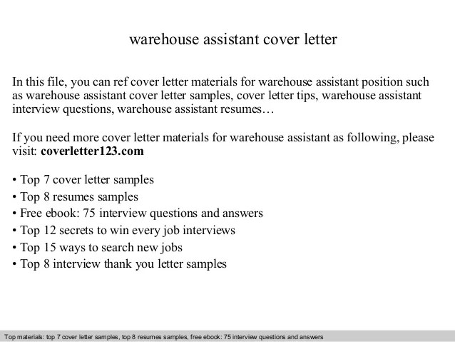 Warehouse assistant cover letter