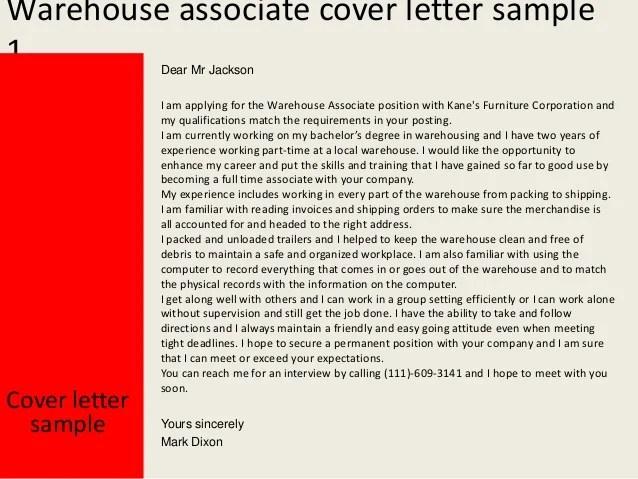 warehouse cover letter samples for resume