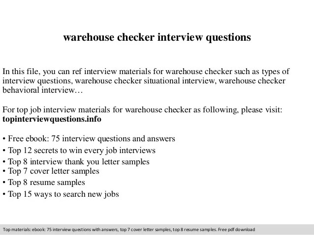 Warehouse checker interview questions
