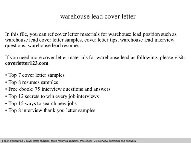 Warehouse Lead Cover Letter