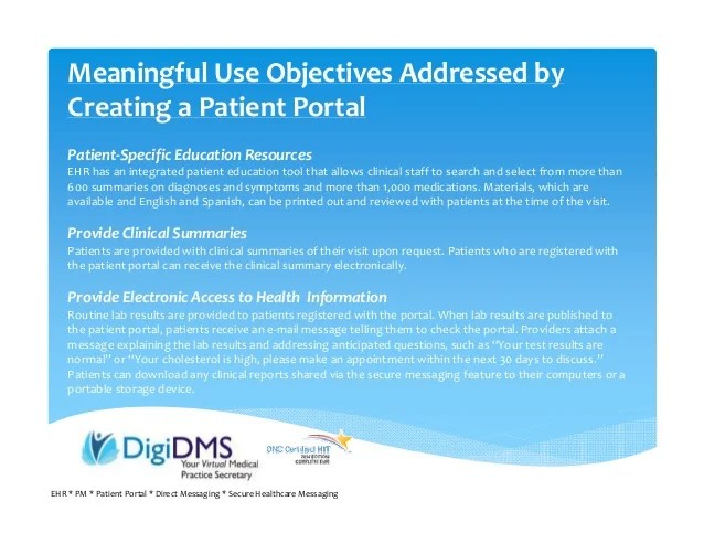 Webinar 8 Patient Engagement Using Patient Portal DigiDMS Com