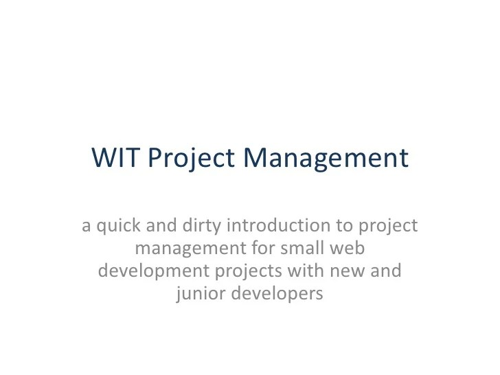 Web Project Management for Small Projects