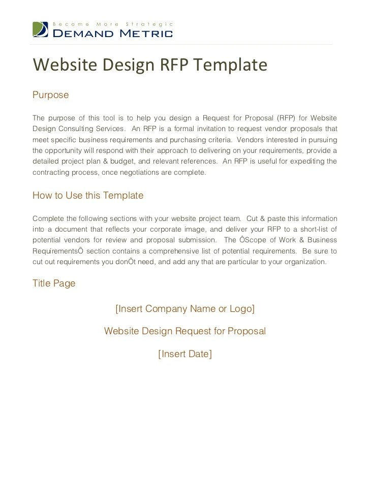 Website Design RFP Template