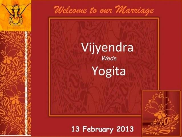 Wedding Invitation Vijyendra Amp Yogita 13 Feb 2013