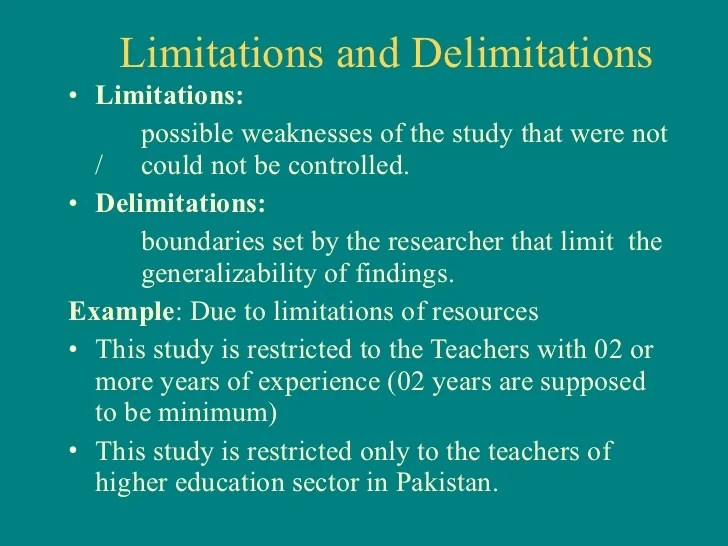 Research Paper Limitations And Delimitations