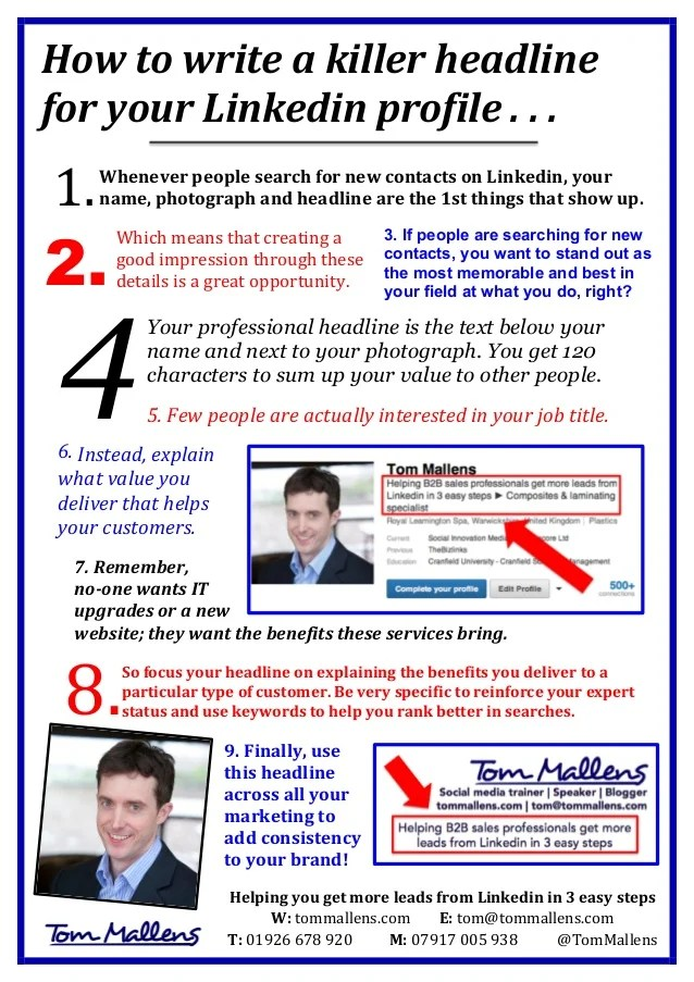 Linkedin Marketing How To Write A Killer Profile Headline