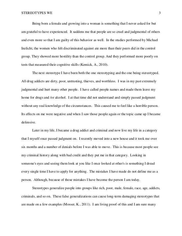 essay about stereotyping essay Stereotypes - women in sports 3 pages 709 words december 2014 saved essays save your essays here so you can locate them quickly.