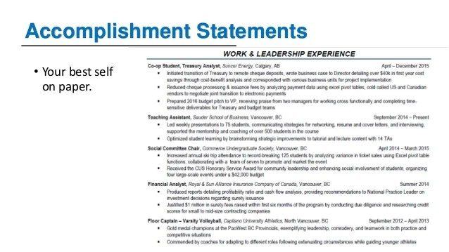 accomplishment statements for resume examples
