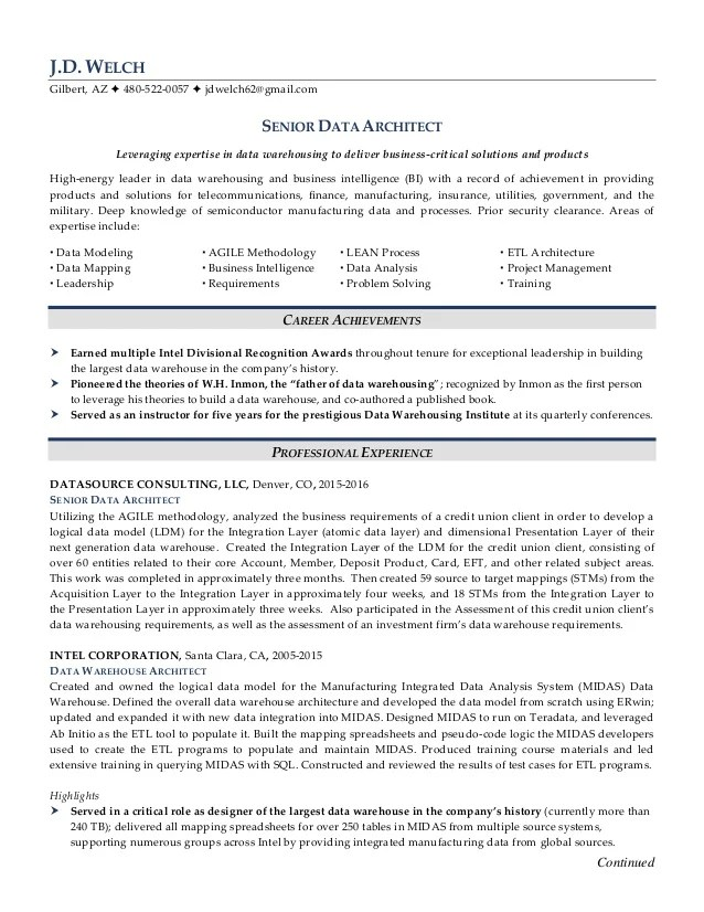 JD Welch Senior Data Architect Resume