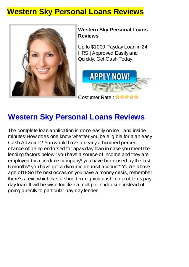 Western Sky Personal Loans Reviews