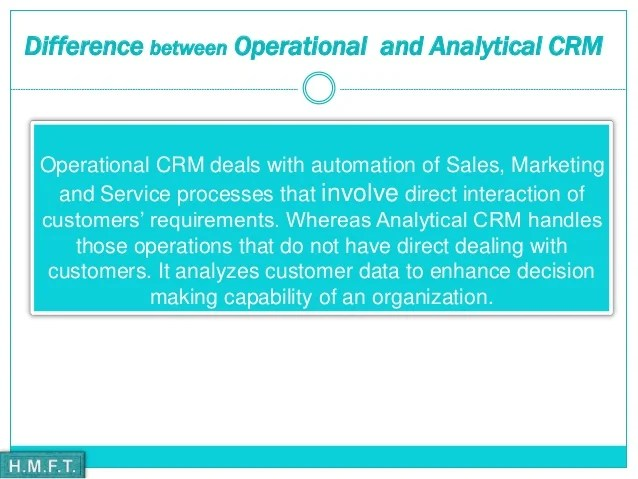 What is analytical crm