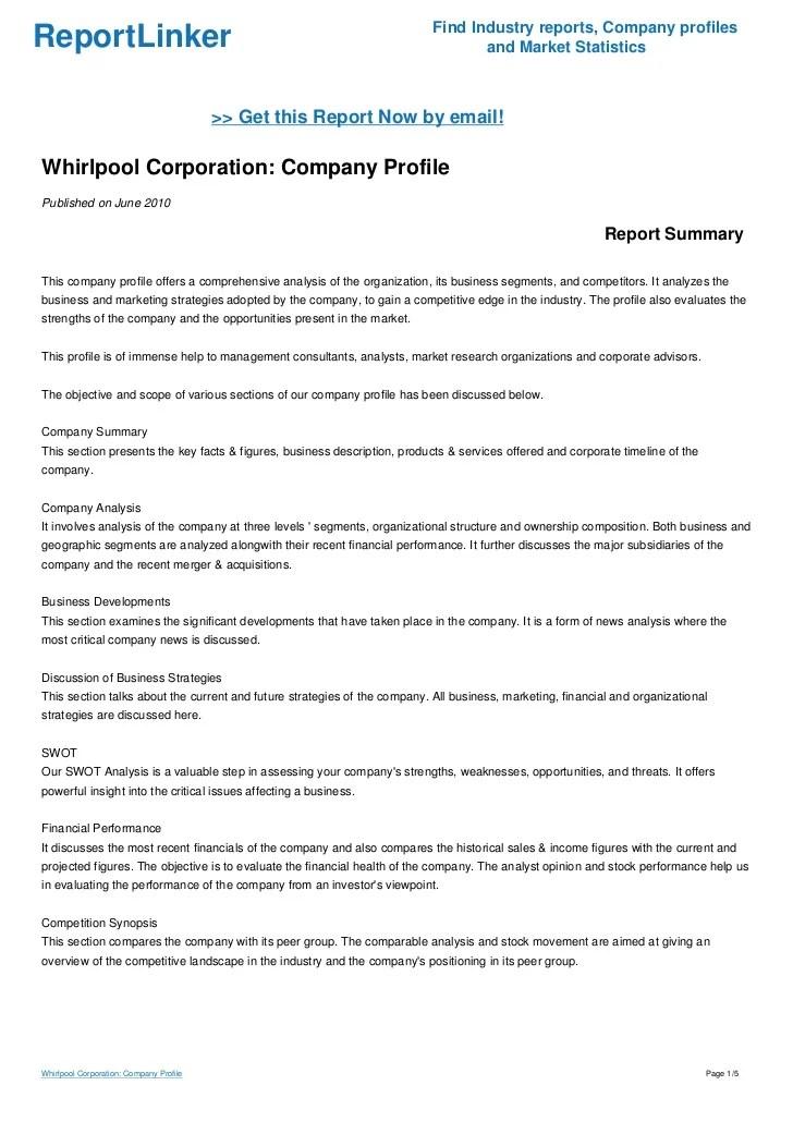 Whirlpool corporation company profile find industry reports profilesreportlinker also rh slideshare
