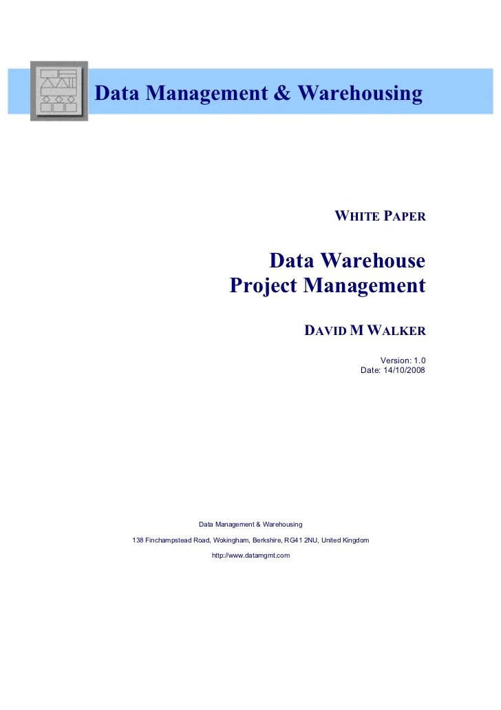 White Paper  Data Warehouse Project Management