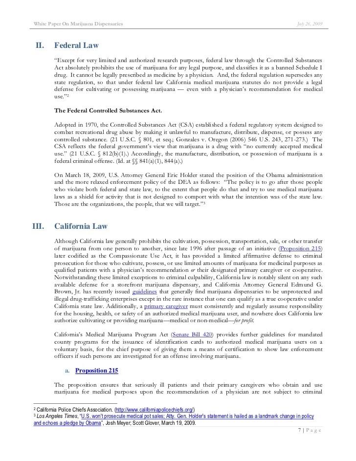 Research Paper Marijuana White Paper On Marijuana Dispensaries Ca