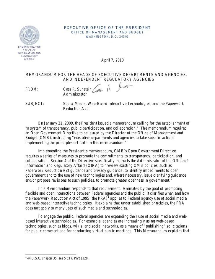 Presidential Memo Social Media And The Paperwork