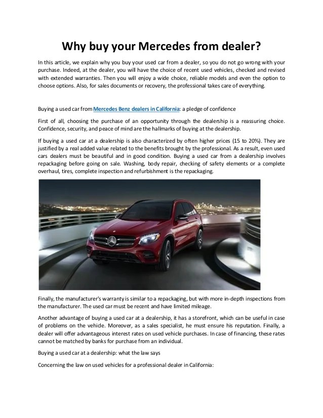 How will the dealerships respond? Why Buy Your Mercedes From Dealer