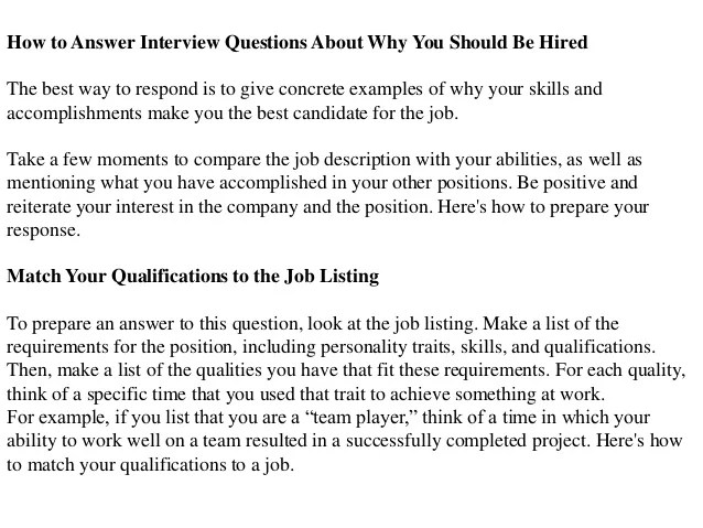 Why Should We Hire You Best Answers. Answer To Interview Questions Why  Should We Hire You ...