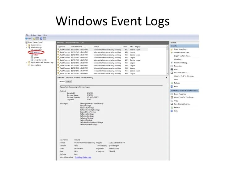 Security Event Logs Windows 7